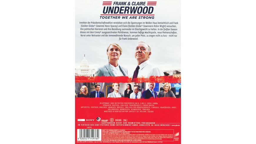 House of Cards Season 5 4 DVDs