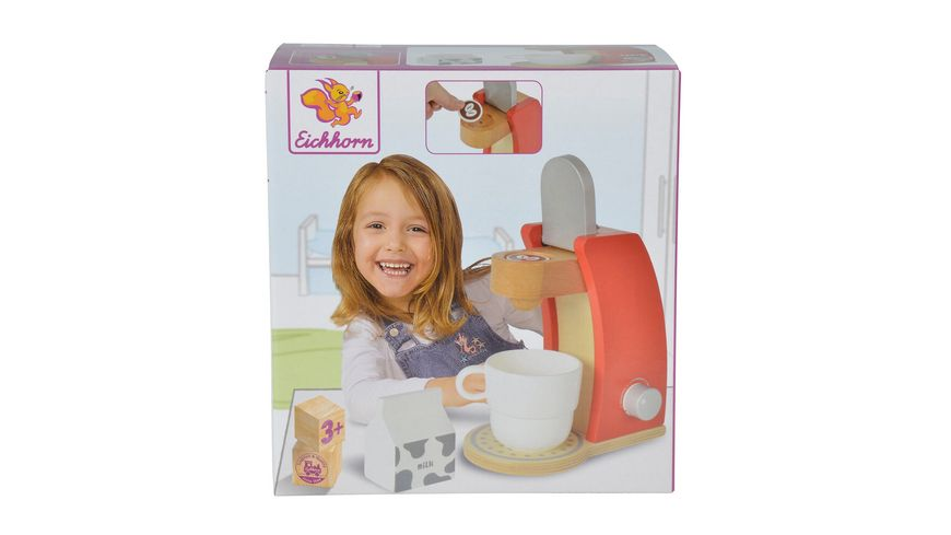 Eichhorn Kaffeemaschine aus Holz inklusiv Tasse Milchbox und Kaffeepad
