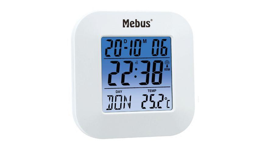 Mebus Digitaler Funkwecker Weiss ca 8 5 8 1 8 cm