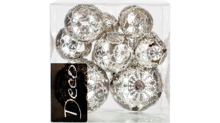 EUROSAND Deko Metallkugeln Silber 11 teilig