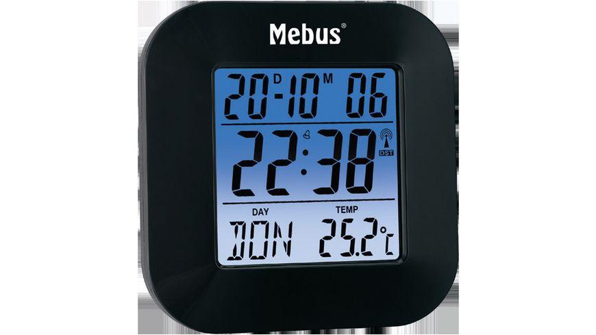 Mebus Digitaler Funkwecker schwarz ca 8 5 8 1 8 cm