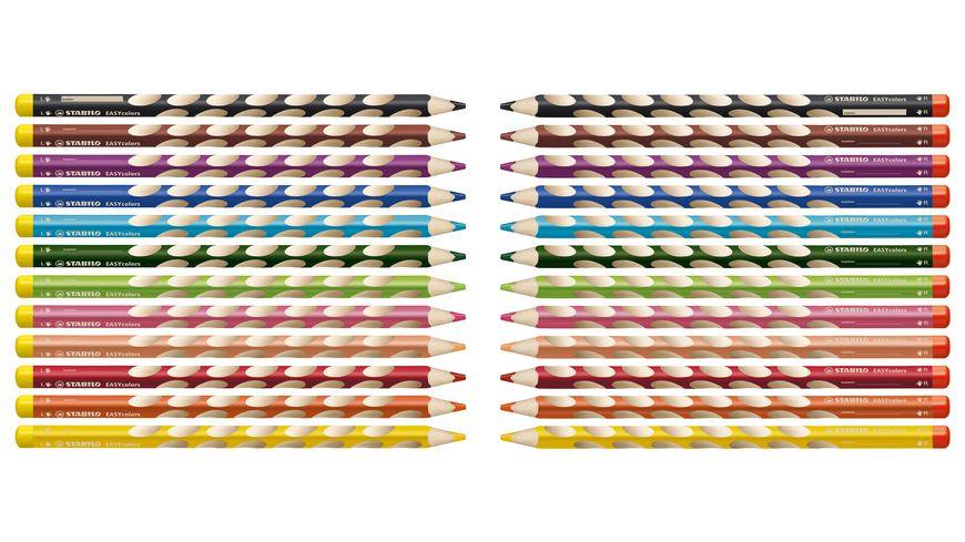 STABILO Buntstifte EASYcolors 12er Etui mit Spitzer fuer Rechtshaender