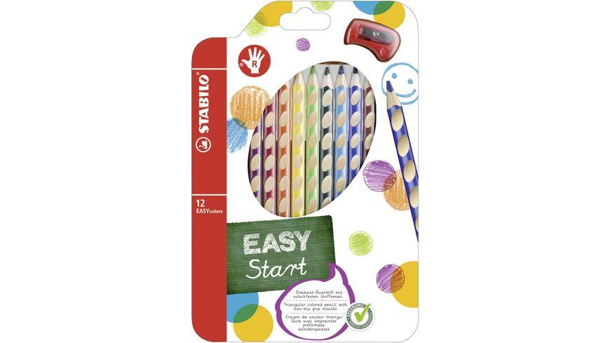 STABILO Buntstifte EASYcolors 12er-Etui mit Spitzer für Rechtshänder