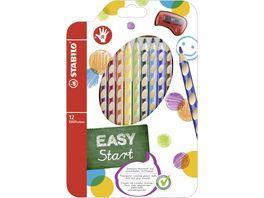 STABILO Ergonomischer Buntstift fuer Rechtshaender STABILO EASYcolors 12er Pack mit Spitzer mit 12 verschiedenen Farben