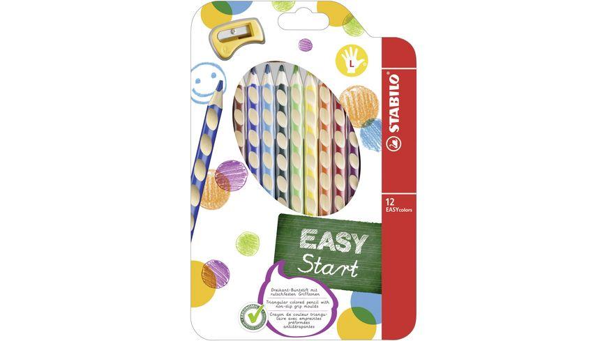 STABILO Buntstifte EASYcolors 12er Etui mit Spitzer fuer Linkshaender