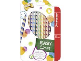 STABILO Ergonomischer Buntstift fuer Linkshaender STABILO EASYcolors 12er Pack mit Spitzer mit 12 verschiedenen Farben