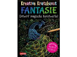 Buch Carlsen Kreative Kratzkunst Fantasie Set mit 10 Kratzbildern Anleitungsbuch und Holzstift