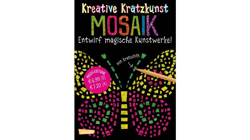 Buch Carlsen Kreative Kratzkunst Mosaik Set mit 10 Kratzbildern Anleitungsbuch und Holzstift