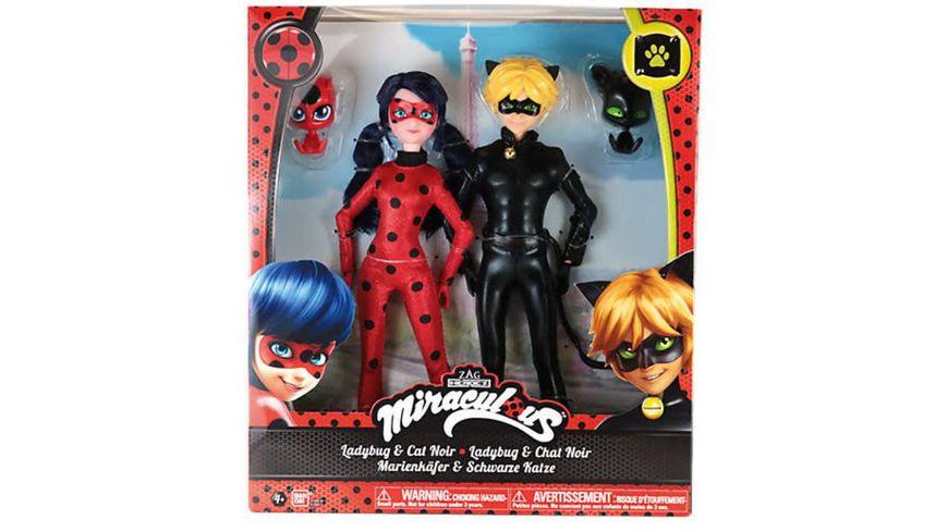 Bandai Miraculous Puppen Ladybug und Cat Noir 26 cm