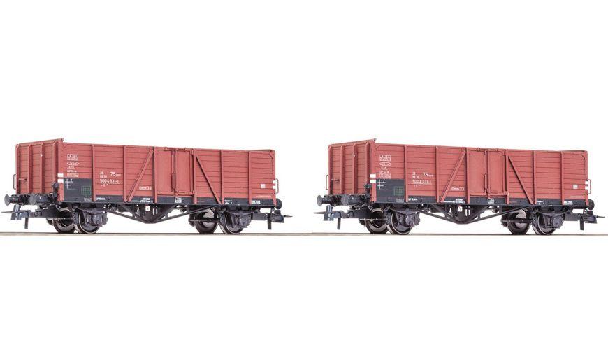 Roco 76107 Set 2 tlg Offene Gueterwagen DB