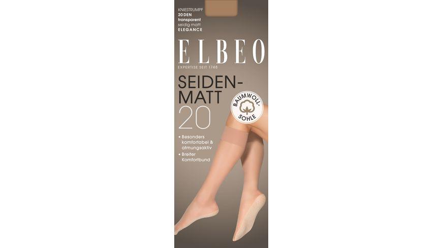 ELBEO Damen Kniestruempfe mit Baumwollsohle Seidenmatt 20 DEN