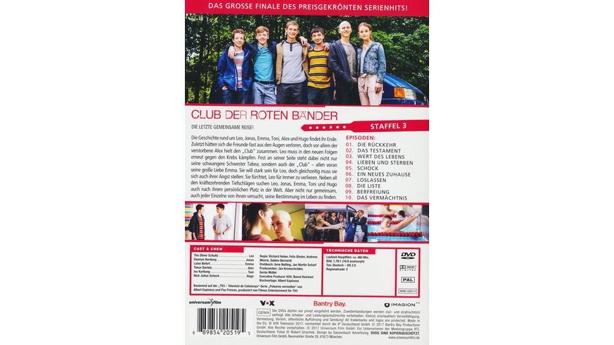Club der roten Baender Staffel 3 3 DVDs