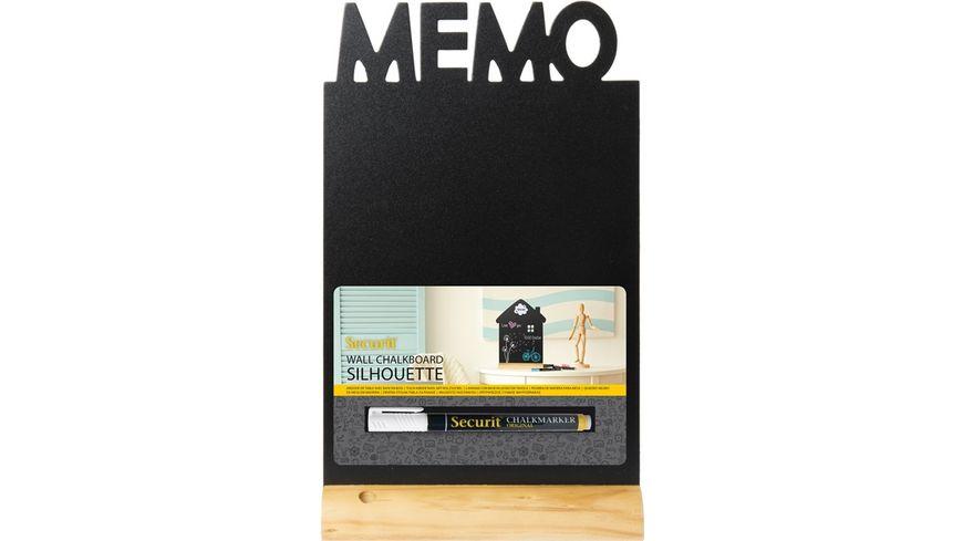Securit Tisch Kreidetafel MEMO mit Holzfuss inklusive Kreidemarker