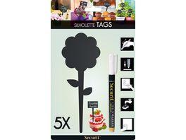 Securit Kreidetafel Gartenstecker Blume schwarz 5 Stueck inklusive 1 SMA100 Kreidemarker