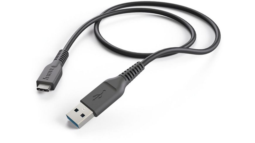 Hama Lade-/Datenkabel, USB Type-C - USB-3.1-A-Stecker, 1 m, Schwarz