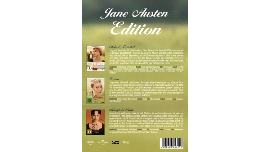 Jane Austen Edition 3 DVDs