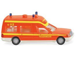 WIKING 0607 01 Feuerwehr Krankenwagen MB Binz tagesleuchtrot