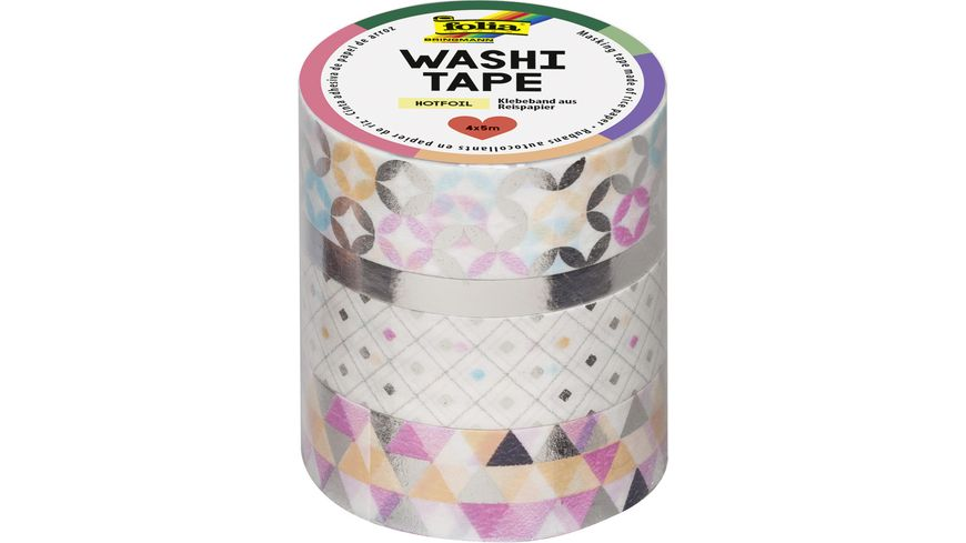 folia Washi Tape 4er Set Hotfoil silber