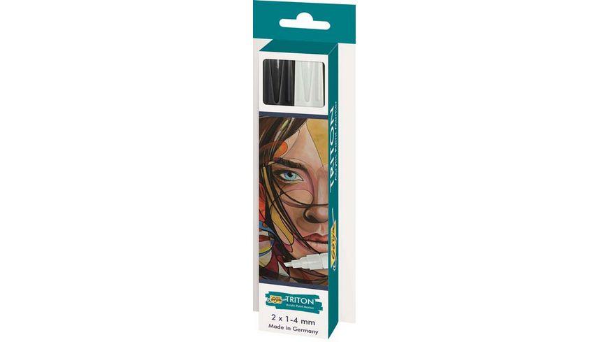 SOLO GOYA Triton Acrylic Paint Marker 1 4 mm 2er Set schwarz und weiss