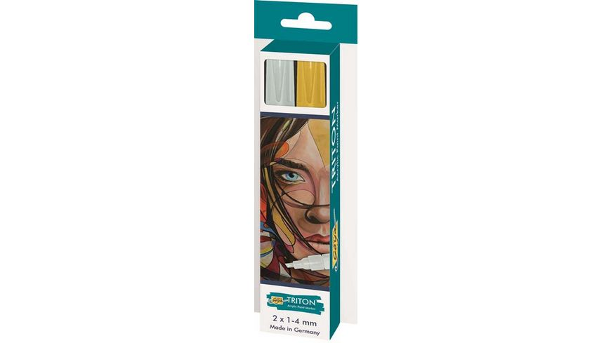 SOLO GOYA Triton Acrylic Paint Marker 1 4 mm 2er Set silber und gold
