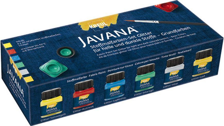 KREUL Javana Stoffmalfarben Glitter Grundfarben Set 6 x 20 ml