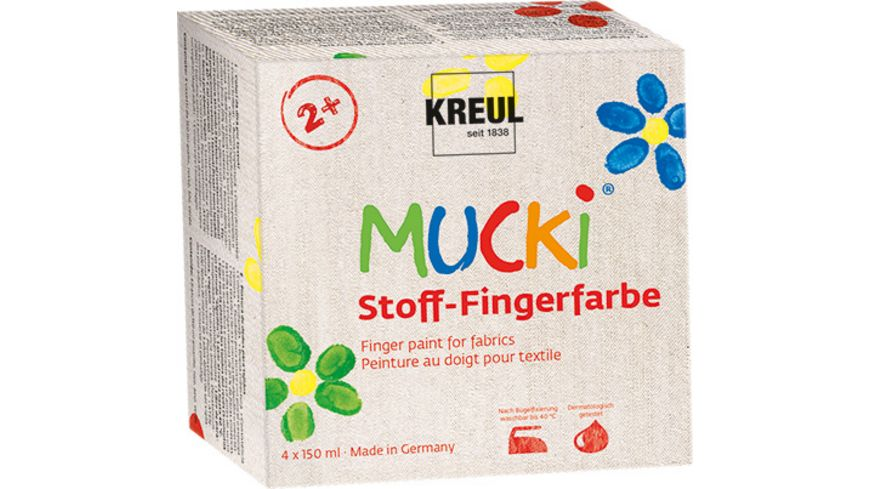 KREUL Mucki Stoff Fingermalfarben 4er Set