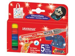 KREUL Javana texi maex Stoffmalstifte Glitterfarben fuer helle und dunkle Stoffe 5er Set