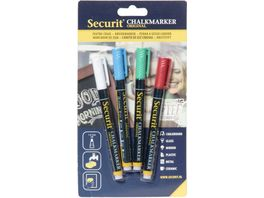 Securit Kreidemarker fein 4er Set weiss rot gruen blau
