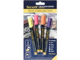 Securit Kreidemarker fein 4er Set gelb rosa orange violett