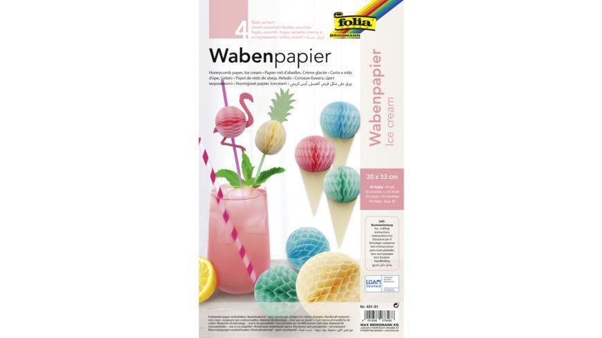 folia Wabenpapier Ice Cream 4 Blatt 20 x 33 cm