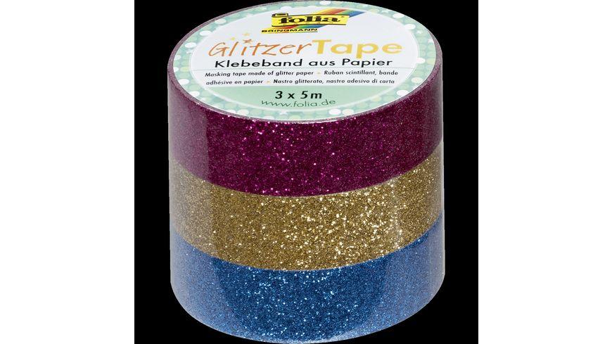 folia Glitzer Tape 3er Set pink gold und ellblau