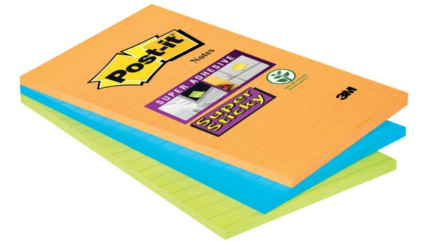 Post-it Haftnotiz Super Sticky Notes liniert 3 x 45 Blatt