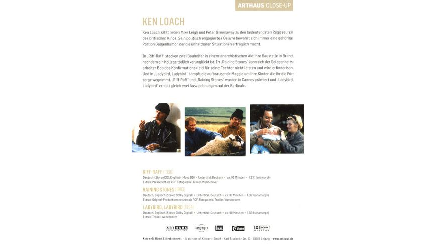 Ken Loach Arthaus Close Up 3 DVDs