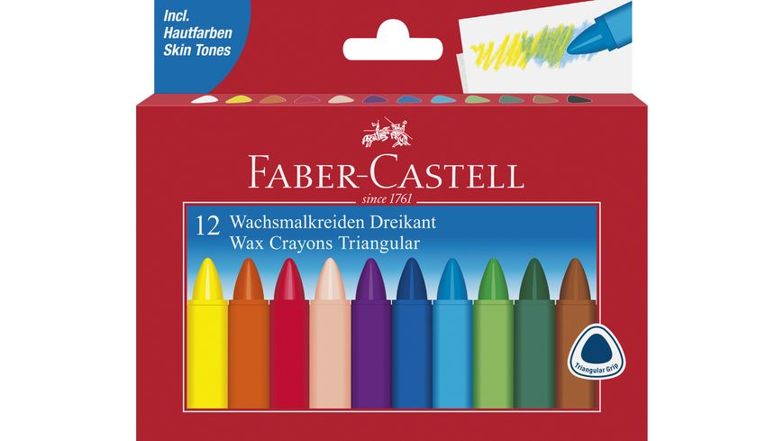 FABER CASTELL Wachsmalstifte wasserfest 12er Etui