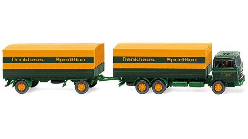 Wiking 0456 01 Pritschenhaengerzug MB 2223 Sped Denkhaus
