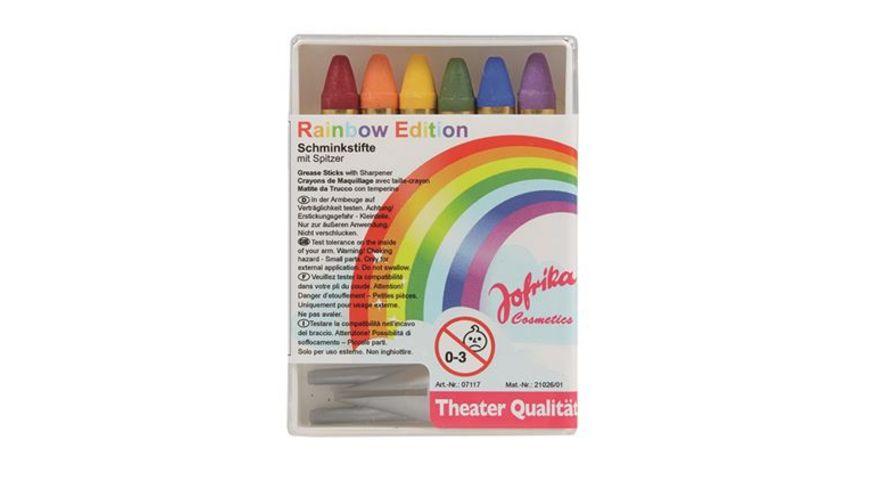Jofrika 6 Schminkstifte Regenbogen m Spitzer