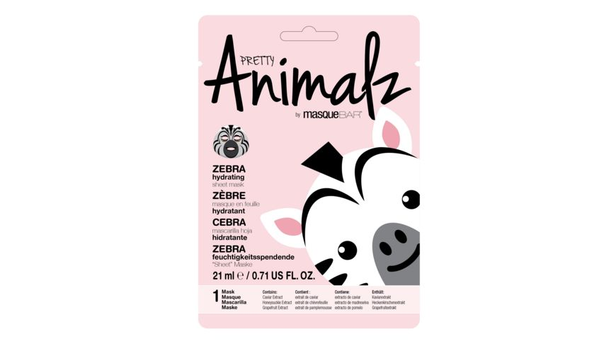 PRETTY Animalz Feuchtigkeit spendende Tuchmaske ZEBRA