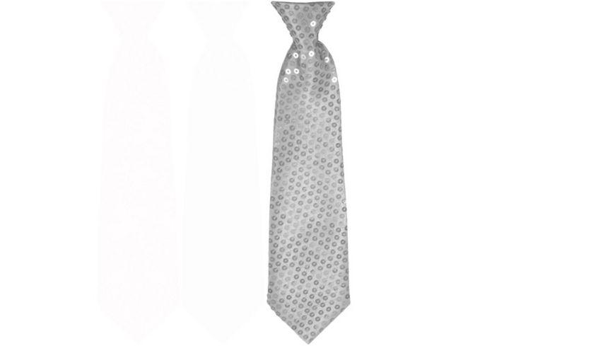 Makotex Krawatte Pailletten silber
