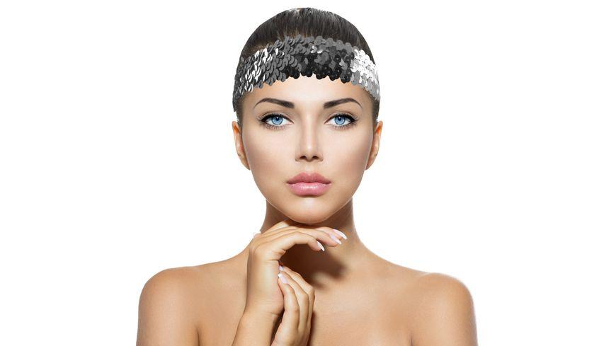 Makotex Stirnband Pailletten silber