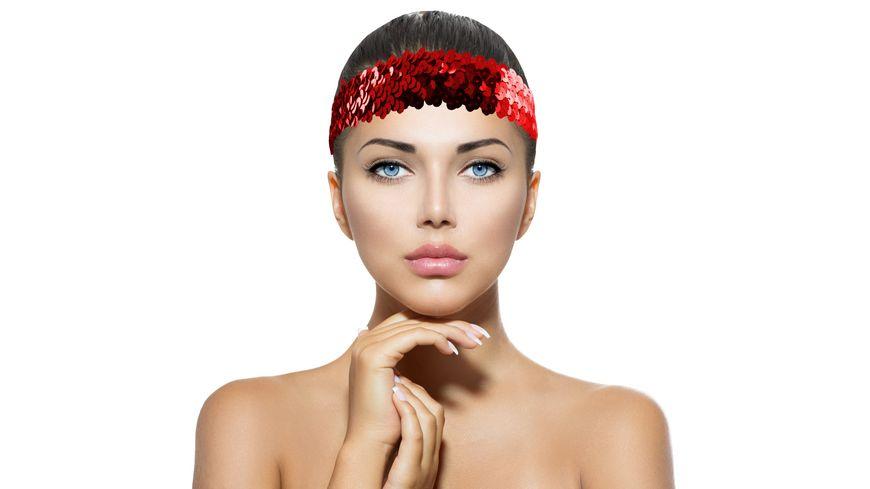 Makotex Stirnband Pailletten rot