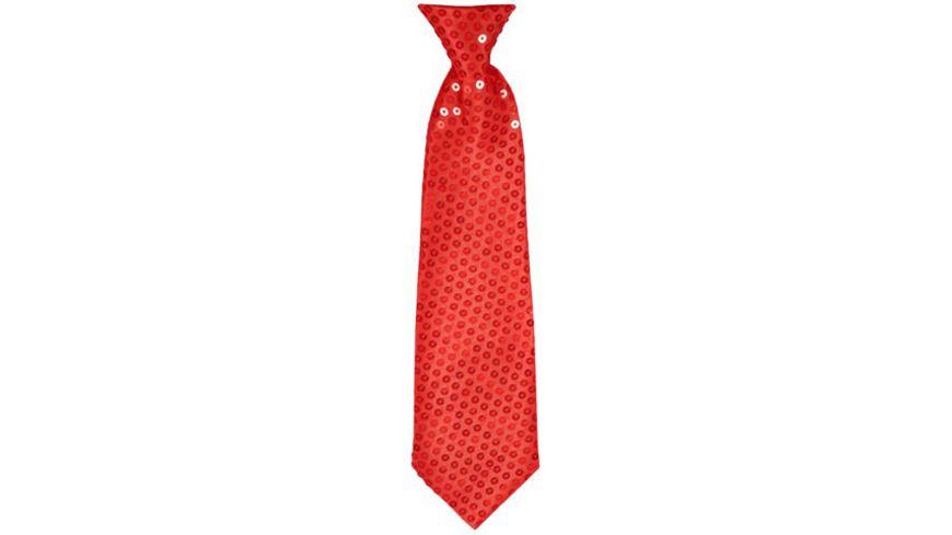 Makotex Krawatte Pailletten rot