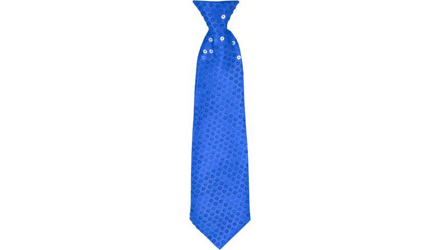Makotex Krawatte Pailletten blau