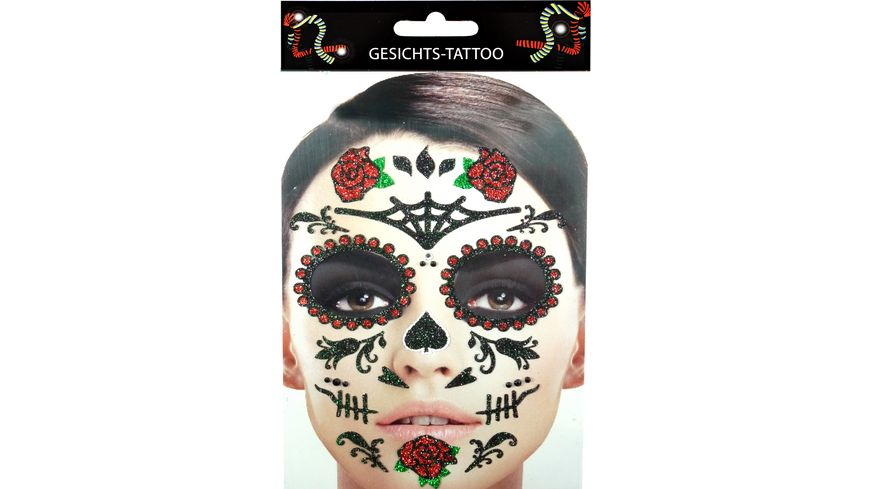 Makotex Gesichts Tattoo Day of the Dead Rosen