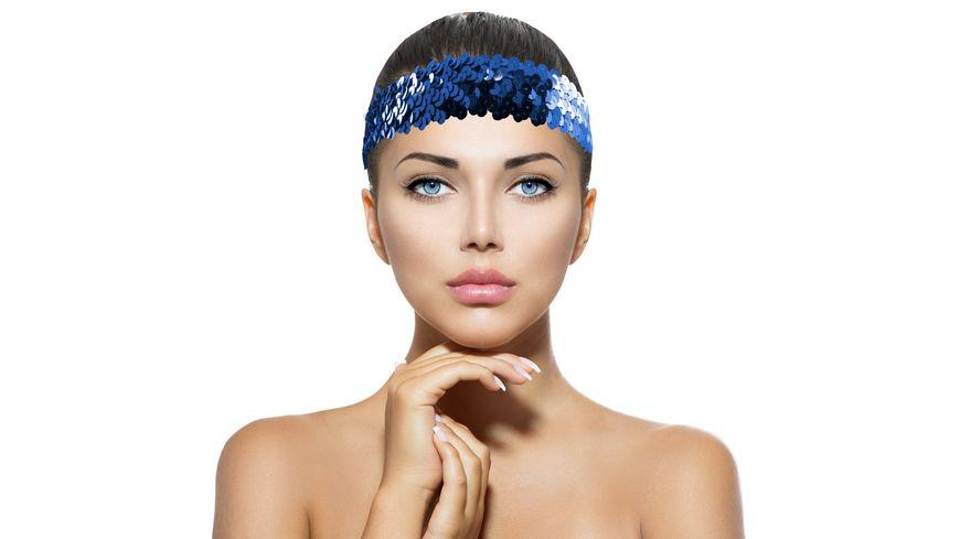 Makotex Stirnband Pailletten blau