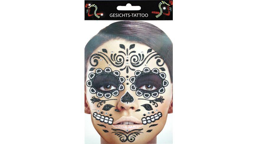 Makotex Gesichts Tattoo Day of the Dead schwarz