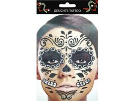 Makotex Gesichts Tattoo Day of the Dead schwarz