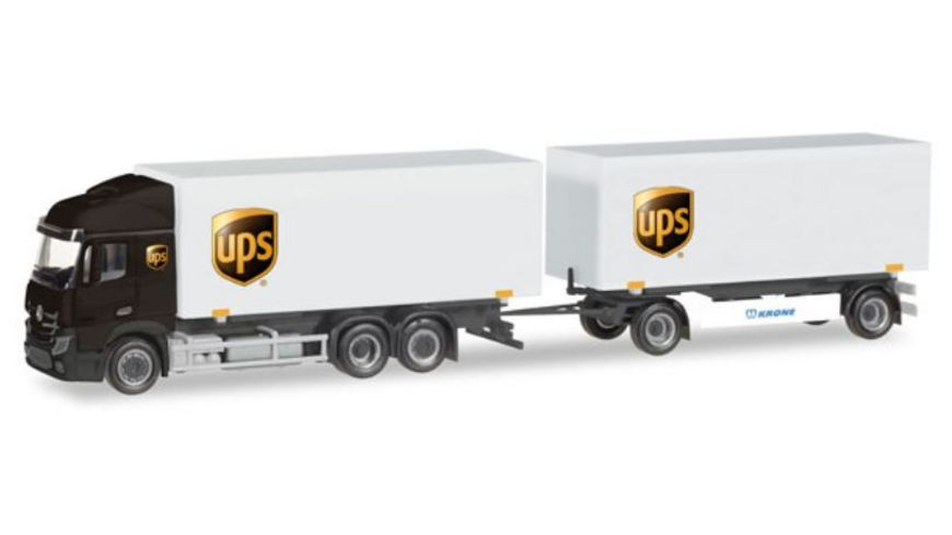 Herpa 308045 Mercedes Benz Streamspace 2 5 Wechselkoffer Haengerzug UPS