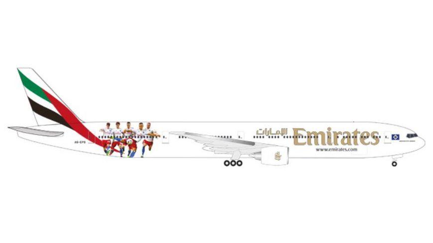 Herpa 530880 Emirates Boeing 777 300ER Hamburger SV A6 EPS