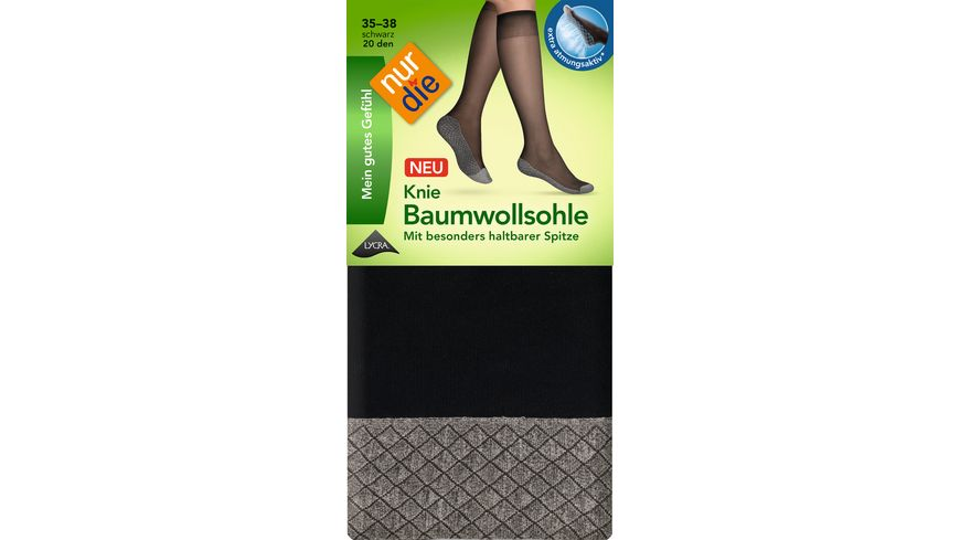 NUR DIE Damen Kniestrumpf Baumwollsohle
