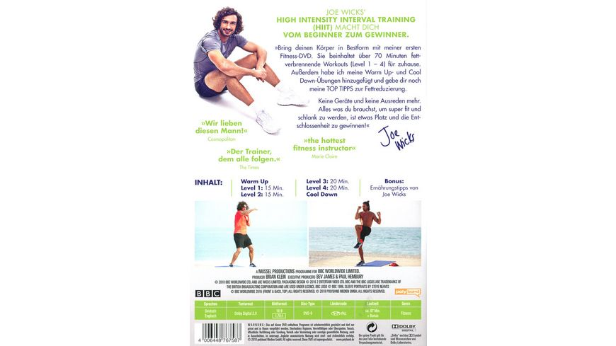 Joe Wicks Das Body Coach Workout Level 1 4 HIIT High Intensity Interval Training